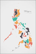 Tableau en plexi-alu  Philippines map modern abstract with round shapes - Ingo Menhard