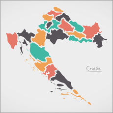 Sticker mural Croatia map modern abstract with round shapes