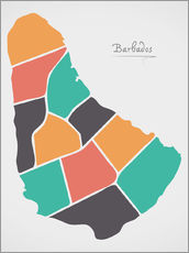 Sticker mural  Barbados map modern abstract with round shapes - Ingo Menhard