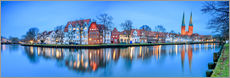 Sticker mural  Panoramic of Lubeck reflected in river Trave, Germany - Roberto Sysa Moiola