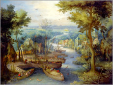 Poster River landscape with bathing and boats