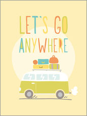 Sticker mural  Let's go anywhere - Typobox