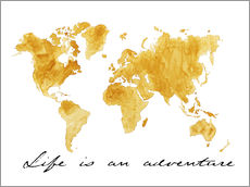 Sticker mural  Mappemonde, Life is an adventure - Nadine Conrad