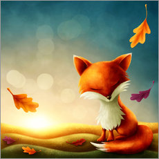 Tableau en plexi-alu  Little red fox - Elena Schweitzer