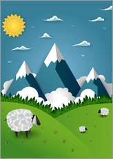 Sticker mural  Paper landscape with sheep - Kidz Collection