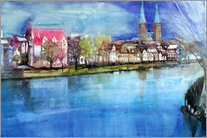 Tableau en plexi-alu  Lübeck, painter angle with cathedral - Johann Pickl