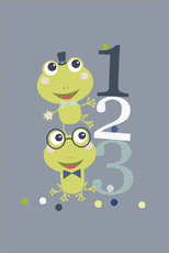 Tableau en plexi-alu  Frogs playing with numbers - Jaysanstudio