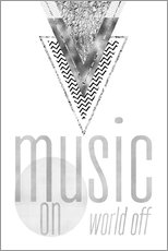 Sticker mural  GRAPHIC ART SILVER Music on World Off - Melanie Viola
