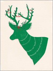 Sticker mural Green Stag