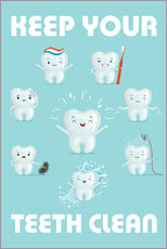Tableau en plexi-alu  Keep your teeth clean - Kidz Collection