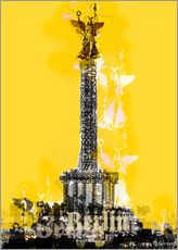 Sticker mural  Berlin Victory Column (on Yellow) - JASMIN!