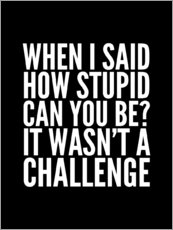 Tableau en plexi-alu  When I Said How Stupid Can You Be It Wasn't a Challenge - Creative Angel