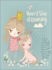 Tableau en verre acrylique  Never stop dreaming - Kidz Collection