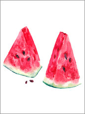 Sticker mural  watercolor slices of watermelon