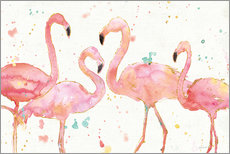 Sticker mural  Flamants roses I - Anne Tavoletti