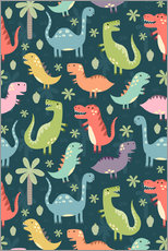 Tableau en plexi-alu  Colorful dinosaurs - Kidz Collection