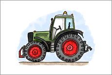 Tableau en plexi-alu  Le tracteur d'Hugo - Hugos Illustrations
