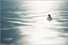 Sticker mural  Man cycling on a frozen lake - Johner