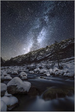 Tableau en plexi-alu  Italy, Piedmont, Cuneo District, Gesso Valley, Alpi Marittime Natural Park, winter starry night on t - age fotostock