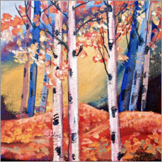 Poster Birch trees in autumn