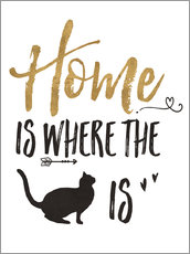 Sticker mural  Home is where the cat is (anglais) - Veronique Charron
