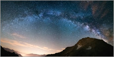 Tableau en plexi-alu  Milky Way arch and starry sky on the Alps. Panoramic view - Fabio Lamanna