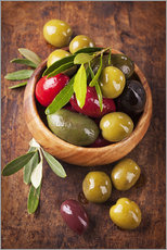 Elena Schweitzer - Bowl with olives on a wooden table