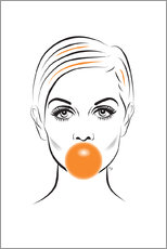 Alu-Dibond  Twiggy avec bubble-gum - Martina illustration