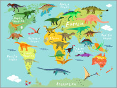 Poster Mappemonde des dinosaures (anglais)
