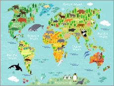 Poster Mappemonde des animaux (anglais)