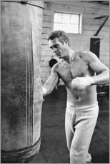 Tableau en PVC  Steve McQueen en train de boxer - Celebrity Collection