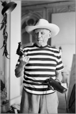 Tableau en aluminium  Picasso avec un revolver - Celebrity Collection
