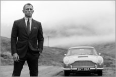 Tableau en bois  Daniel Craig en James Bond, noir et blanc - Celebrity Collection