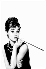 Tableau en aluminium  Audrey et son porte cigarette - Celebrity Collection