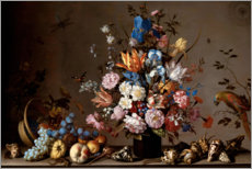 Tableau en bois  Nature morte à la corbeille de fruits - Balthasar van der Ast