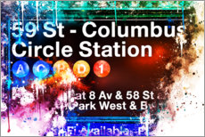 Sticker mural  Collection aquarelle, Columbus Circle Station - Philippe HUGONNARD