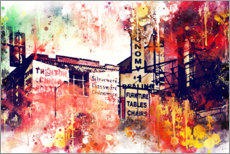 Tableau en PVC  Collection aquarelle, pancartes publicitaires à New York - Philippe HUGONNARD