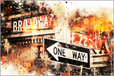 Poster  Collection aquarelle, Broadway One Way - Philippe HUGONNARD