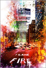 Tableau en PVC  Collection aquarelle, Fire Lane - Philippe HUGONNARD