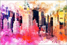 Tableau en aluminium  Collection aquarelle, New York ville colorée - Philippe HUGONNARD
