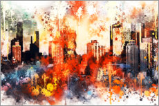 Poster  Collection aquarelle, les couleurs de Manhattan - Philippe HUGONNARD
