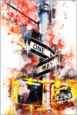 Poster  Collection aquarelle, One Way Street - Philippe HUGONNARD