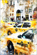 Tableau en verre acrylique  Collection aquarelle, taxis new-yorkais - Philippe HUGONNARD