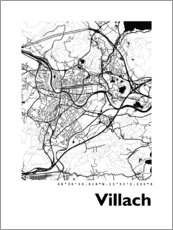 Tableau en aluminium  Carte de Villach - 44spaces