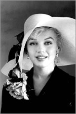 Tableau en plexi-alu  Marilyn Monroe avec un chapeau blanc - Celebrity Collection