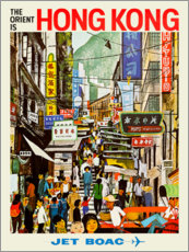 Tableau en bois  Hong Kong - Jet BOAC - Travel Collection
