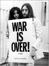 Tableau en bois  Yoko & John - War is over !