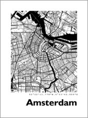 Poster  Carte d'Amsterdam - 44spaces