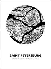 Poster  Plan de la ville de Saint-Pétersbourg - 44spaces