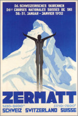 Tableau en verre acrylique  Zermatt - Courses nationales suisses de ski, 1932 - Travel Collection